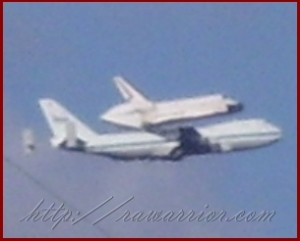 Space Shuttle riding piggyback on 747