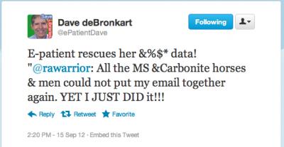 epatient Dave tweet