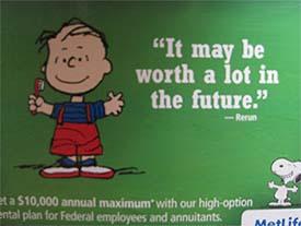 Peanuts MetLife sign on Metro