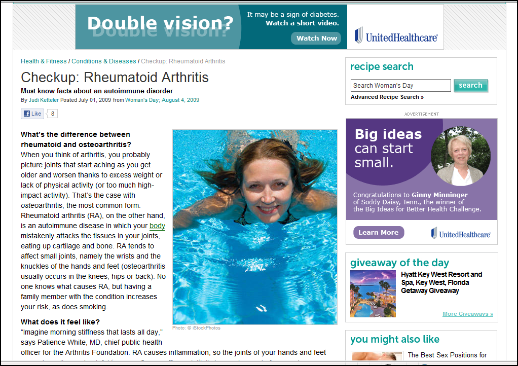 Woman's Day version of Rheumatoid Arthritis/ Rheumatoid Disease