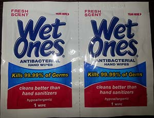 Wet Ones germ killing wipes