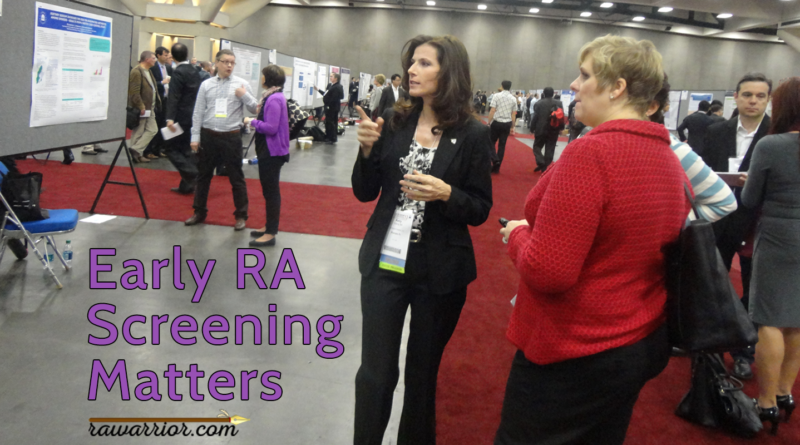 Early RA screening matters. Kelly at a poster session.